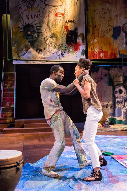 "Paapa Essiedu as Hamlet and Natalie Simpson as Ophelia in ""Hamlet."" Roayl Shakespeare Company. Photo credit Manuel Harlan"