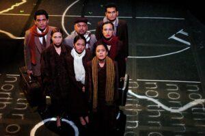 The cast of Sepharad: Voces de Exilo (counterclockwise: Neil Ryan Sese, Mailes Kanapi, Sigrid Bernardo, Dolly de Leon, Che Santos, Lex Marcos, and Richard de Guzman) (Photo: Dulaang UP).
