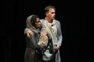 Monice Peter as Creusa and Gareth Potter as Aeneas in The Aeneid. Photography by David Hou.