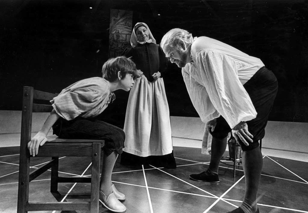 John Edward Mueller as Andrea Sarti, Hal Wines as Mrs Sarti and Robert Prosky as Galileo Galilei in Bertolt Brecht's Galileo, which opened Arena Stage's 30th Anniversary Season in October 1980. Photo: Joe B. Mann.