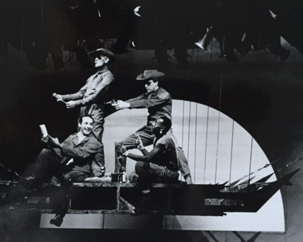 Leon & Lena (and lenz) by Georg Büchner, Guthrie Theater (1987). Director: JoAnne Akalaitis. Dramaturg: Mark Bly.Credits: Jesse Borrego, Don Cheadle, Richard Ooms, and Charles Janasz. Photo: Joe Giannetti.