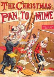 The Christmas Pantomime color lithograph bookcover, 1890, showing the harlequinade characters. Photo Cred Wetman on en.wikipedia