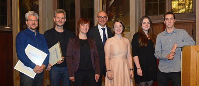 The prize-winners 2016: Martin Baltscheit, Jörg Menke-Peitzmeyer, Caren Marks, Prof. Dr. Gerd Taube, Franziska Isabella Niehaus, Alina Rathmann, Rinus Silzle (f.l.t.r.) | Photo cred Karin Berneburg