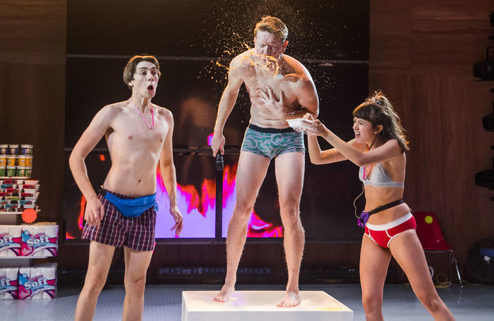 Alex Arnold, Sam Spruell and Sophie Wu in Shopping and Fucking at the Lyric Theatre, Hammersmith. Photo creds Tristram Kenton