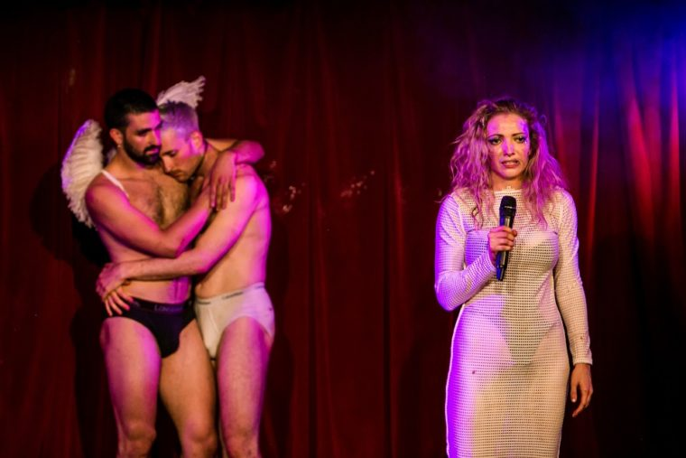 Lucy McCormick with her underwear-clad male assistants |Photo Credits The Other Richard