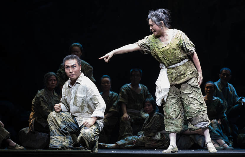 Jia Zhoufeng (left) performs in 'qinqiang' opera 'Home' in Xian, Shanxi province, 2016. Courtesy of Jia Zhoufeng. Originally published by Sixth Tone