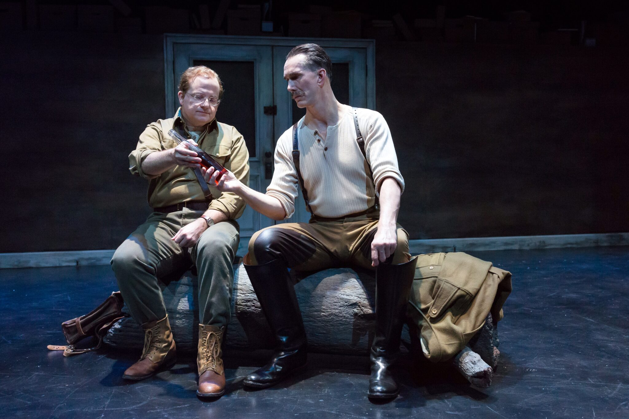 "Jeffery Bean as Isaac and Todd Waite as Nikolai in Alley Theatre's World Premiere of ""Describe the Night"" by Rajiv Jo"