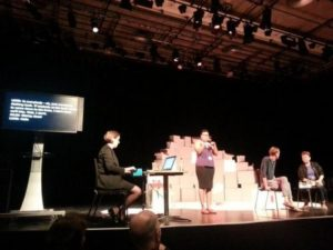 """Claire Hill providing live captions of Vital Xposure's """"Let Me Stay"""" Q&A session 