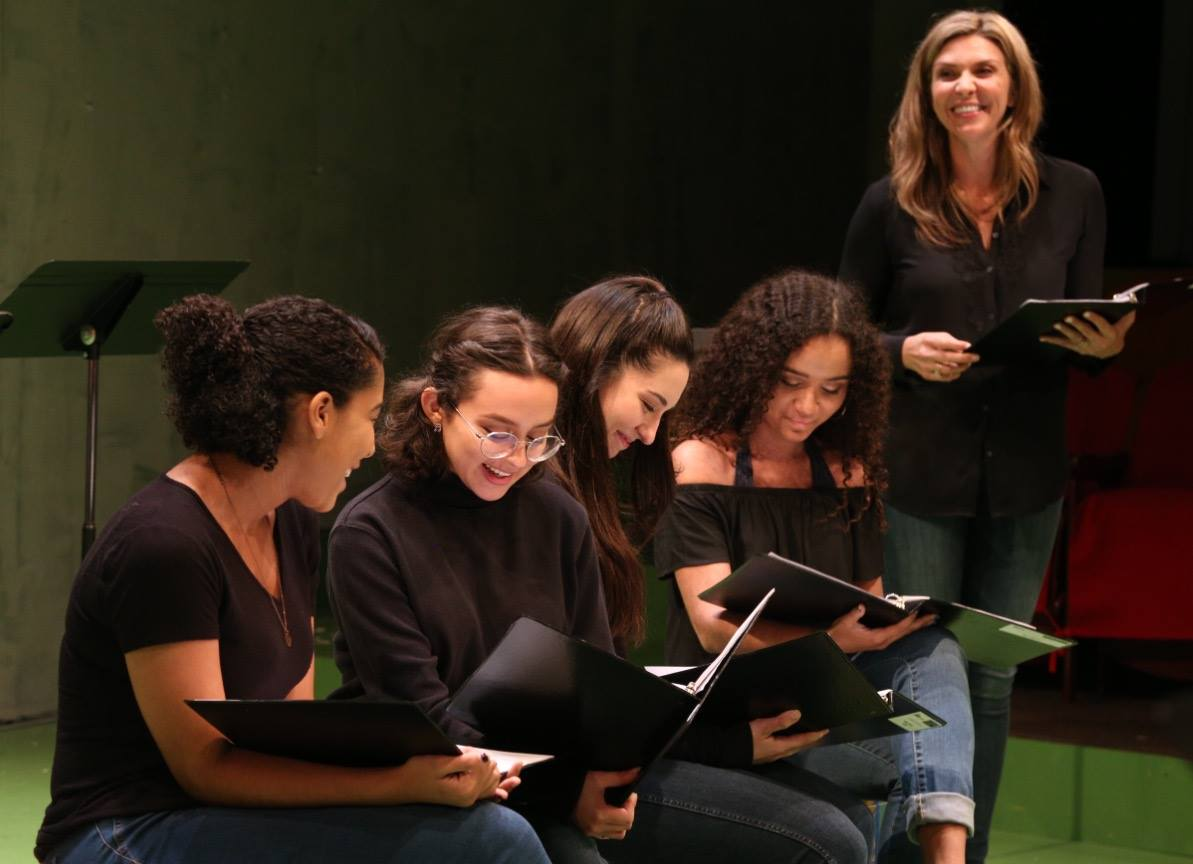 "Anna Maria Morris, Emily Mesa, Melissa Molano, Vivi Collymore, and Courtney Lomelo in ""Just Like Us."" Photo by Claire Logue."
