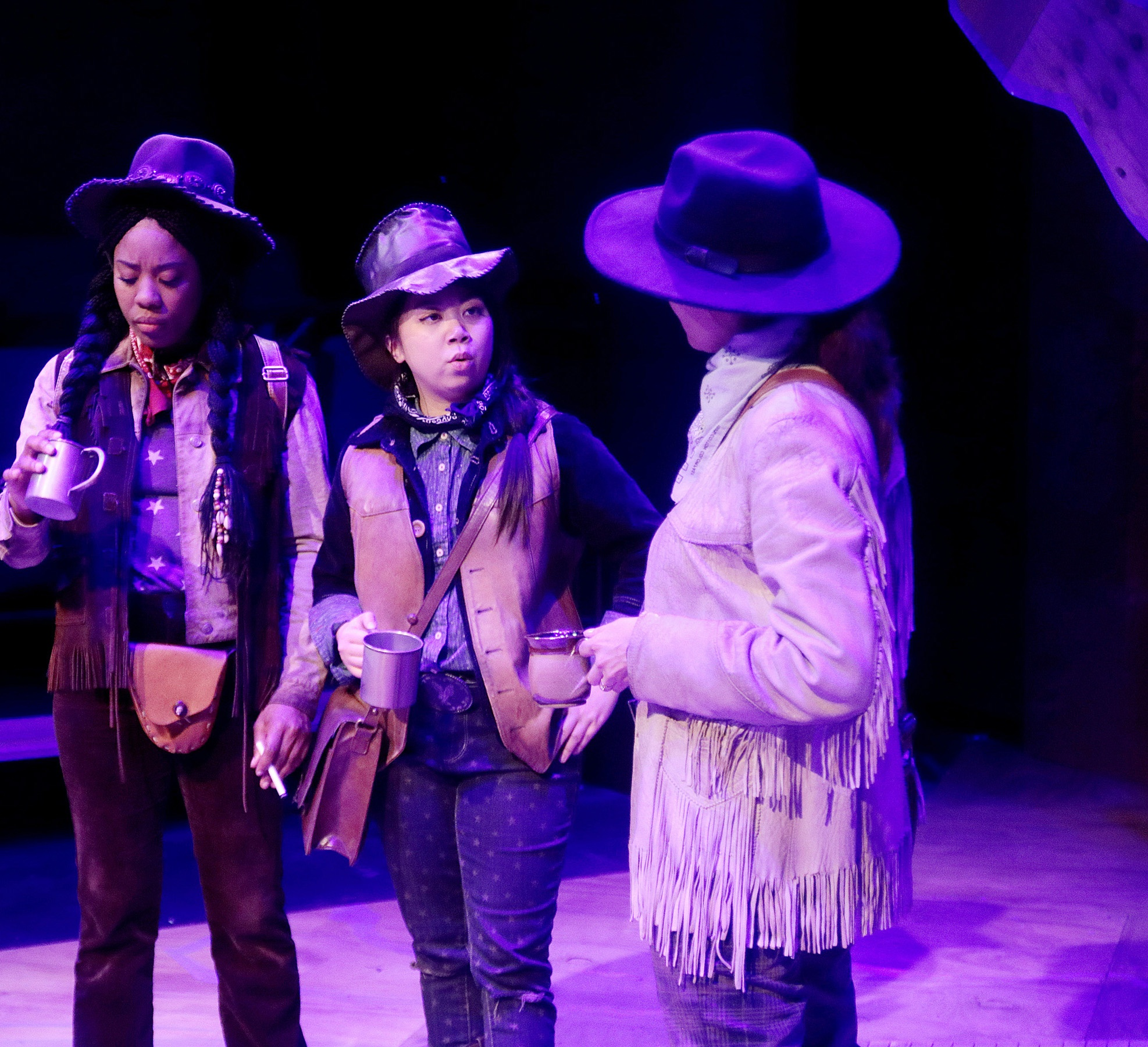 "Candice D'Meza, Mai Le, and Patricia Duran in ""Men on Boats"" at Main Street Theater. Photo credit: Pin Lim/Forest Photography."