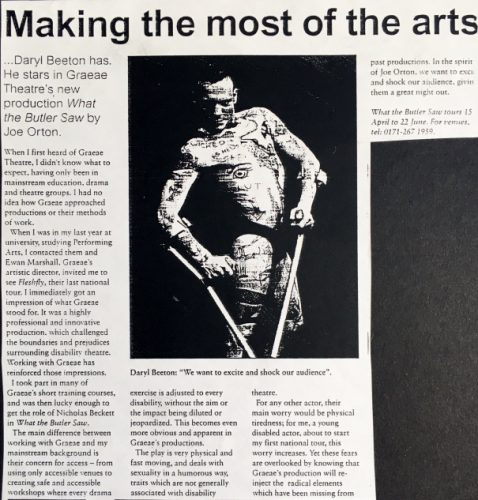 "Newspaper clipping of ""What the Butler Saw"" 