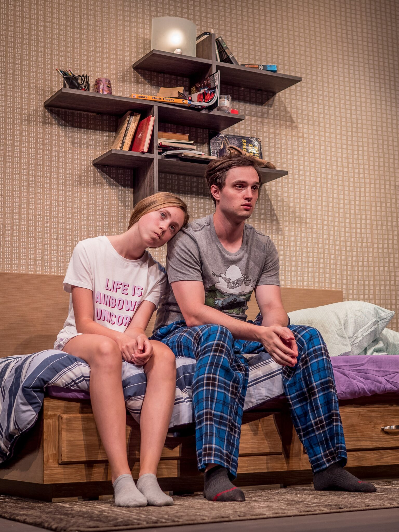 "Sarah Kathryn Makl as Summer and Robby Haltiwanger as Mike in the Premiere Stages production of ""Linger"" by Craig Garcia 