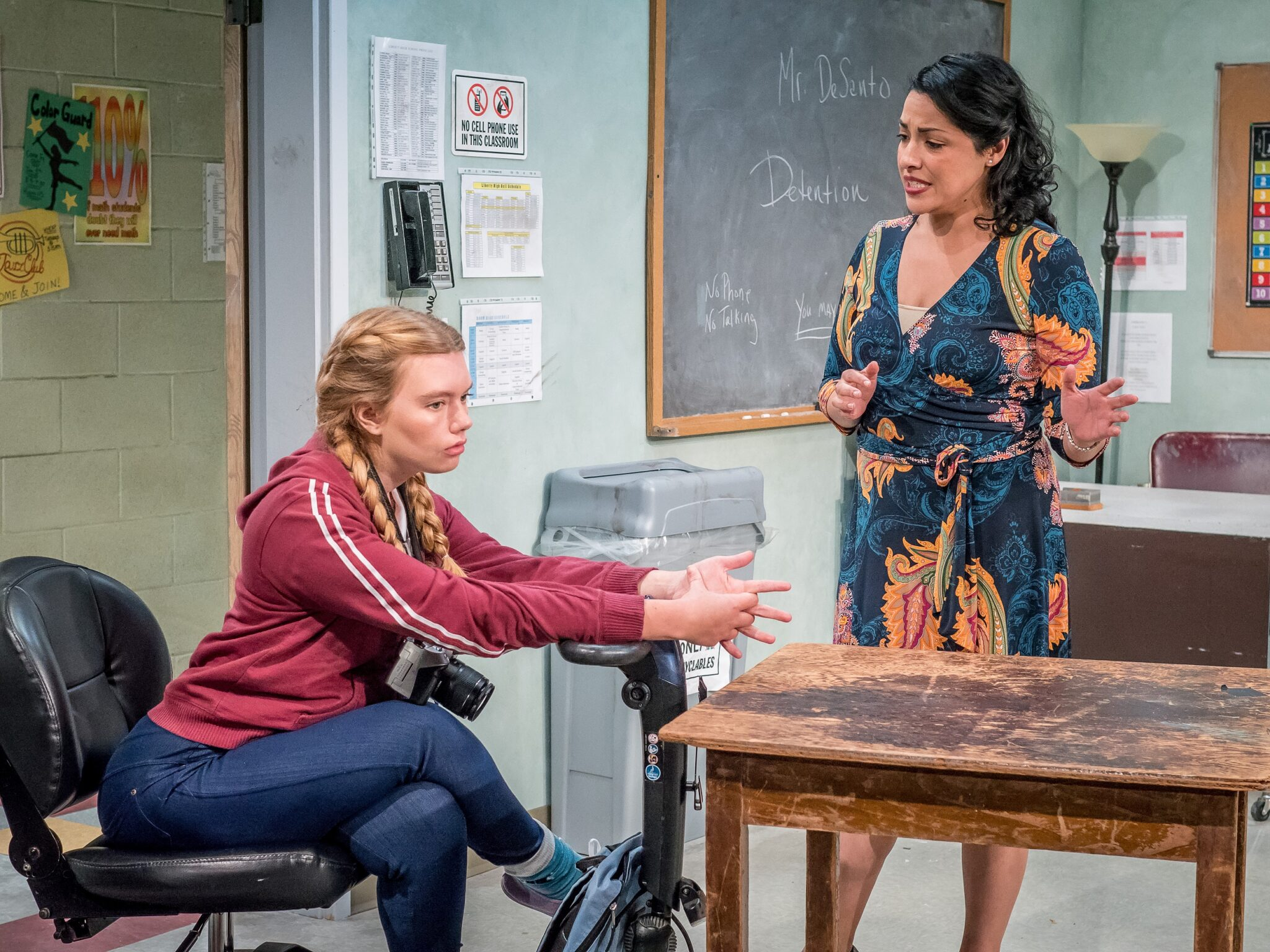 "Madison Ferris as Jessie and Jacqueline Correa as Ms. Vega in the Premiere Stages production of ""Brick City"" by Nicole Pandolfo 