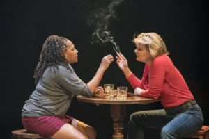 Martha Plimpton as Tracey with Clare Perkins as Cynthia in 'Sweat' at the Donmar Warehouse. Photo Johan Persson