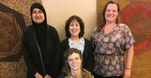 """Keeping Faith"". Back (Left to Right): Rohina Malik, Susan Stone, Kim Schultz. Front: Lucia Thomas"
