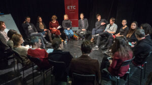 ETC alumni artists in conversation at the Kyiv Academic Molodyy Theatre, December 2018. (Photo credit: Oleksii Tovpyha)