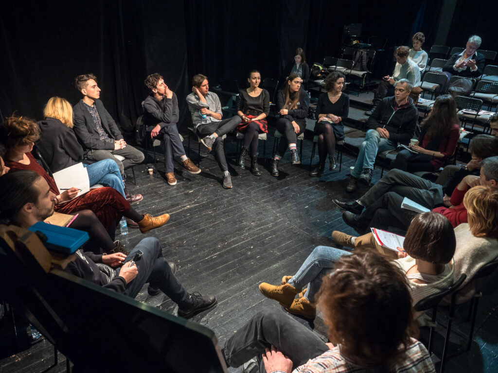 A discussion among Ukrainian ETC alumni artists at the Molodyy Theatre in Kyiv, December 2018. Photo credit: Oleksii Tovpyha