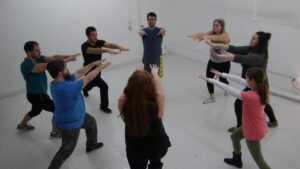 Ensemble Members of Name of Bird in Staccato/Legato Exercise. Photo Credit: Charlie Hall