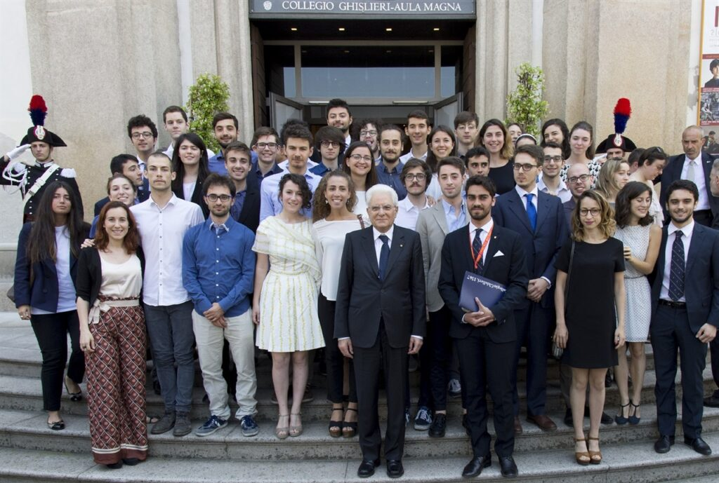 The President of the Italian Republic, Sergio Mattarella, during his visit to Ghislieri College (June 2017). Image courtesy of Ghislieri College Archive, Pavia.