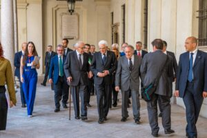 —The President of the Italian Republic, Sergio Mattarella, during his visit to Ghislieri College (June 2017). Image courtesy of Ghislieri College Archive, Pavia.