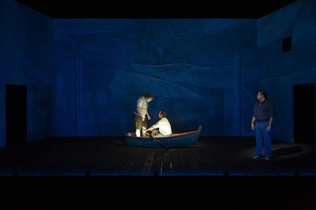 Benjamin Oakes, Guy Simon and Ian Michael in <em>Cloudstreet</em>. The Swan River plays a key role in the story. Pia Johnson