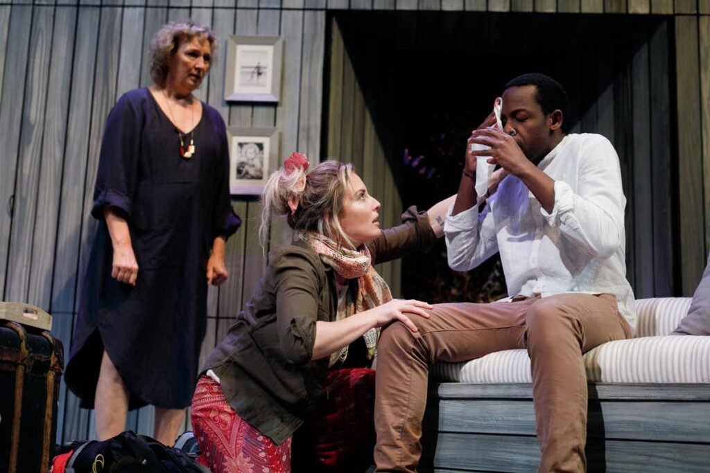 Glenda Linscott, Emily Rose Brennan, and Richard Maganga in <em>Water</em>. Daniel J Grant