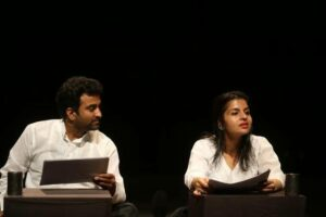 "Black and white: A still from the play ""Kankad, Moti aur Kinvad£"""