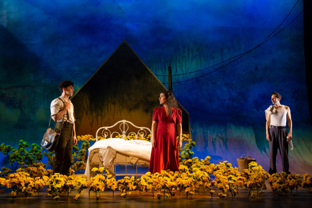 "Ernie Pruneda (Victor), Nadine Malouf (Yerma) and Christian Barillas (Juan) in the Huntington Theatre Company's production of ""Yerma"". Photo by T. Charles Erickson."