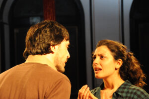 "Israel Elejalde as the Elder Brother and Bárbara Lennie as the Wife in ""The Play to be Done. Photo: Emilio Gómez."