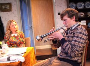 Mia Austen and Sebastian Calver in Go Bang You're Tambourine. Photo credit Phil Gammon.