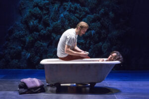 "Bill Hecht and Liza-Colon-Zayas in ""Water by the Spoonful"" at Second Stage Theatre. Photo by Richard Termine."