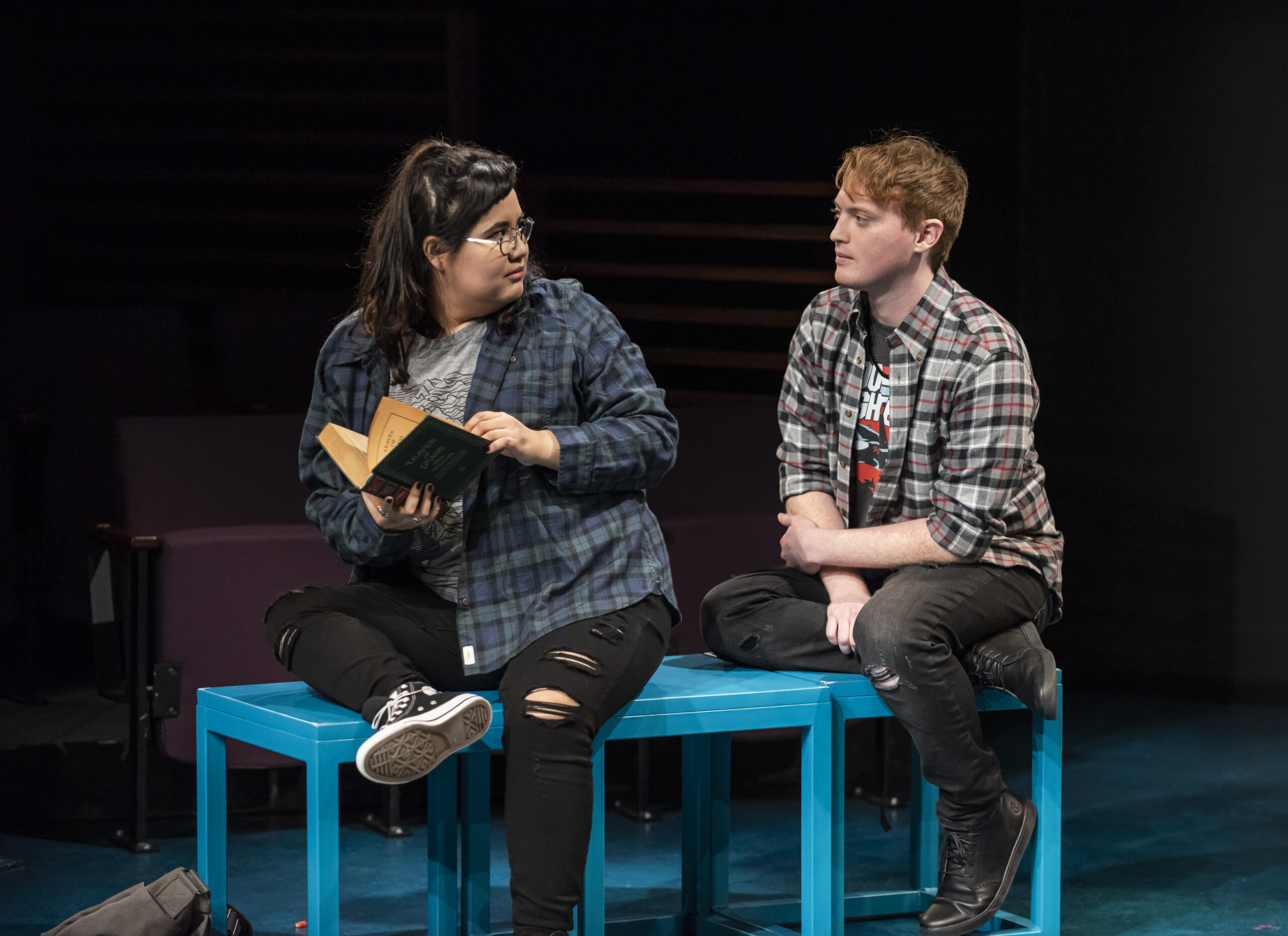 "Karen Rodriguez (Julia) and Harrison Weger (Connor) in ""I Am Not Your Perfect Mexican Daughter."" Photo by Michael Brosilow."