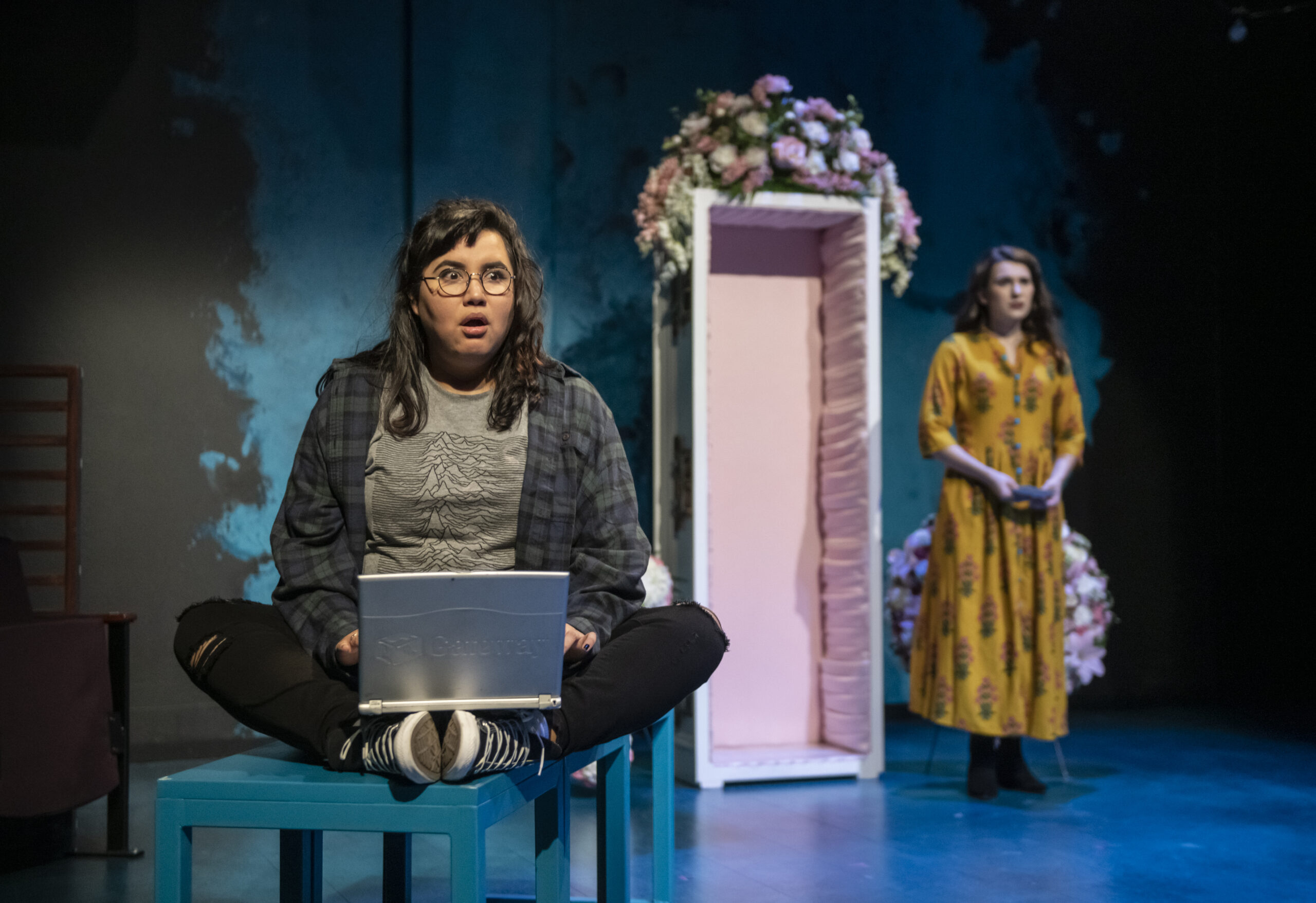 "Karen Rodriguez (Julia) and Dyllan Rodrigues-Miller (Olga) in ""I Am Not Your Perfect Mexican Daughter."" Photo by Michael Brosilow."