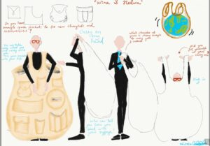 Candan Seda Balaban's first costume design sketches for the production of Wine&Halva