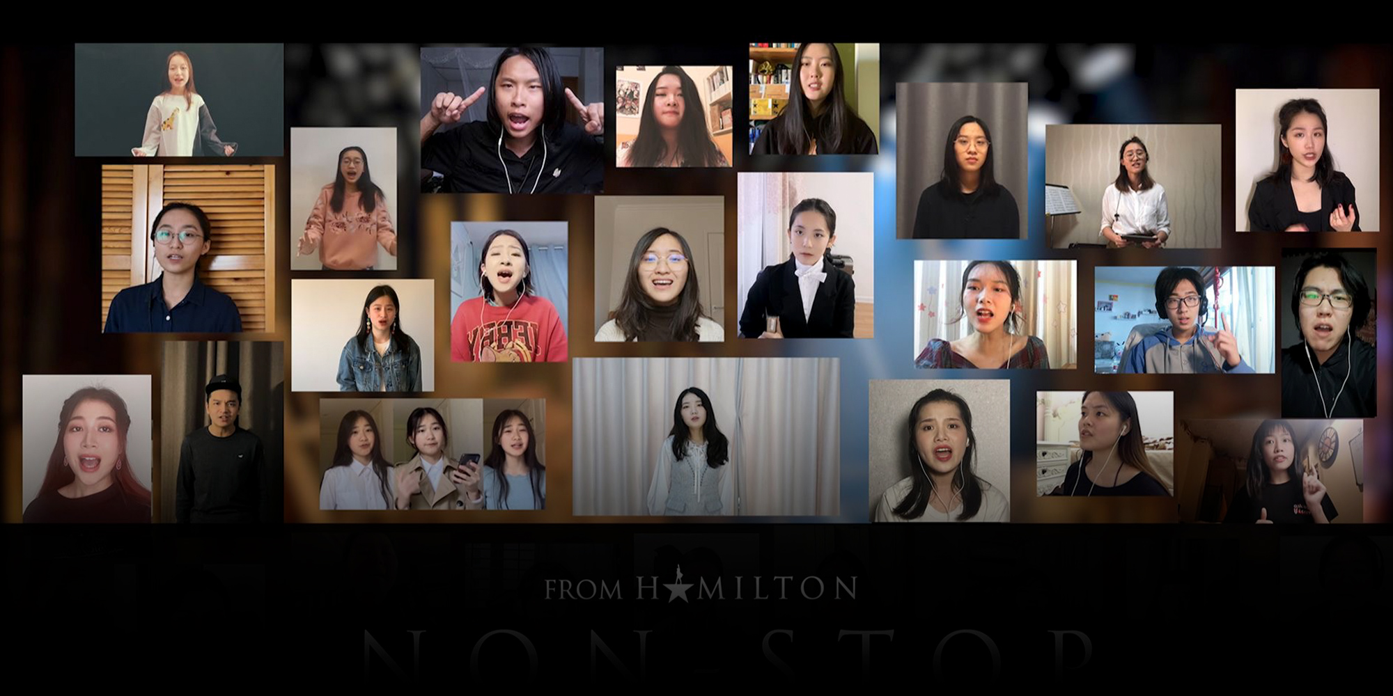 A collage of cam photos of Chinese people singing