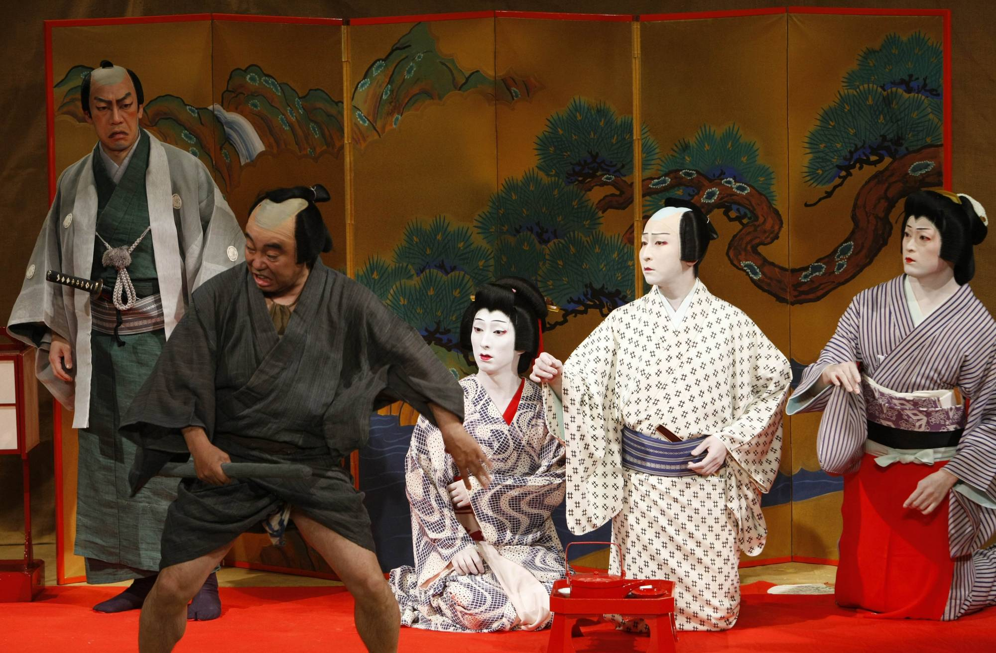 Japanese Kabuki actors of the Tokyo's Heise Nakamura-za company perform during a dress rehearsal for the 'Summer Festival: A Mirror of Osaka' in Berlin