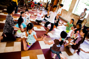 At a dance class supported by Cambodian Living Arts, students from the Bassac community. learn classical Khmer dance at Sothearos School in Phnom Penh in 2012. (Daniel Rothenberg),
