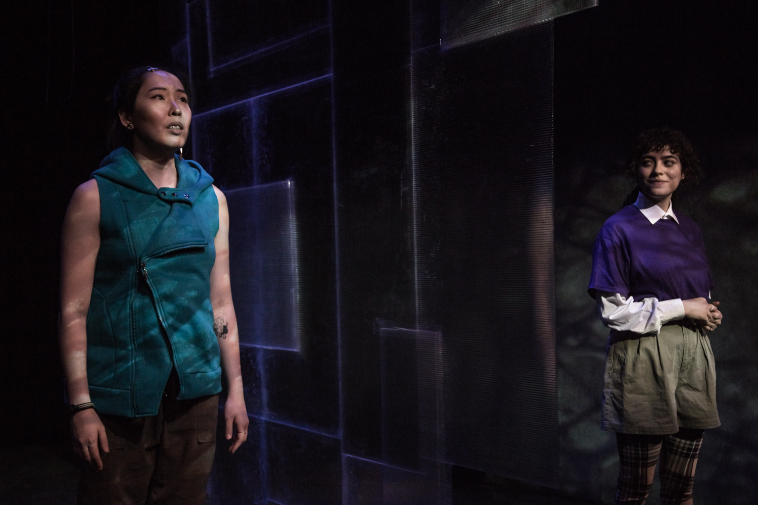"""Jennifer Wang as Len & Mariam Albishah as Ru in """"The Book of Magdalene."""" Photo by RicOrnelProductions."""