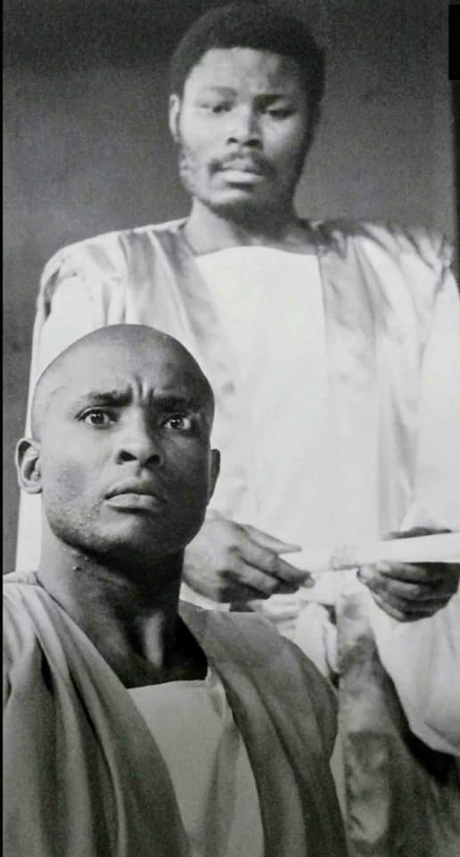 Portrait of the artist as a young man: John Sibi-Okumu (front) in 'Antigone' (1990) (Photo: Courtesy)